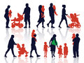 Set silhouettes parents children walk Royalty Free Stock Images