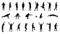 Set of silhouettes of people involved in sports vector illustration Royalty Free Stock Photo