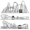 Set of silhouettes Roller coaster. Rollercoaster or amusement park rollers isolated on white background