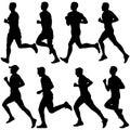Set of silhouettes. Runners on sprint, men. vector illustration