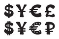 Set of silhouettes signs of world currencies