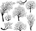 Set of silhouettes of trees Royalty Free Stock Photo