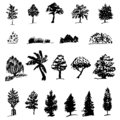 Set of silhouettes of various trees