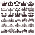 set of silhouettes of vintage crown