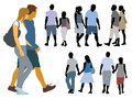 Set silhouettes young people walk Royalty Free Stock Photos