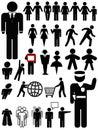 Set silhouettesymbol för person Royaltyfri Foto