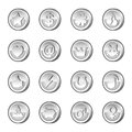 Set of silver coins for your game check my portfolio for more game graphics Stock Photos
