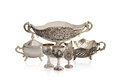 Set of silver old ware Royalty Free Stock Photo