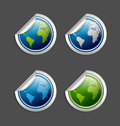 Set silver platinum glossy planet earth stickers isolated background Royalty Free Stock Photos