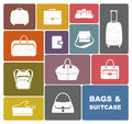 Set simple colour icons bags suitcase Royalty Free Stock Image