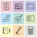 Set Of 9 simple editable icons such as Calculator, Gross pencil, Note Blog, Left side alignment, Gramophone record, Chat speech bu Royalty Free Stock Photo
