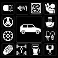 Set of Car, Car parts, Gas station, Chassis, key, lights, Alloy wheel, Seat belt, Steering editable icon pack Royalty Free Stock Photo