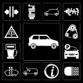 Set of Car, Car lights, Information, Frost, Parking, Gas station, Engine, Warning, editable icon pack Royalty Free Stock Photo