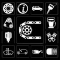 Set of Car parts, lights, Oil, Car, Frost, Piston, Gas station, Engine, editable icon pack Royalty Free Stock Photo
