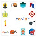 Set of caviar, french bulldog, ap, antelope, ping pong, cannon, no.1, fire station, paddy icons Royalty Free Stock Photo