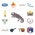 Set of chameleon, democratic party, digger, cannon, ping pong, insurance, badminton, bird nest, no.1 icons Royalty Free Stock Photo