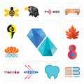 Set of diamond, student book, dental clinic, rowing, , number 8, sea shell, maple leaf, icons Royalty Free Stock Photo