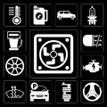 Set of Frost, Steering wheel, Car parts, Parking, Engine, Alloy Fog light, Gas station, editable icon pack Royalty Free Stock Photo