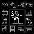 Set of Graphics, Desk, Money, Graphic, Computer, Rocket, Documents, editable icon pack Royalty Free Stock Photo