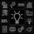 Set of Idea, Graphics, Computer, Money, Graphic, Currency, Documents, editable icon pack Royalty Free Stock Photo