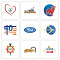 Set Of 9 simple editable icons such as kids club, train, spare parts Royalty Free Stock Photo