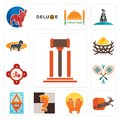 Set of legal, antelope, prayer hands, chess knight, ap, badminton, fire station, bird nest, dachshund icons Royalty Free Stock Photo
