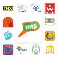 Set of mms, banque, celtic tree life, kids channel, mobile silent, teamspirit, neurosurgery, money back guarantee, psi icons Royalty Free Stock Photo