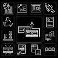 Set of Money, Coins, Documents, Computer, Graphic, Graphics, editable icon pack Royalty Free Stock Photo