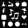 Set of Music, Flags, Football, Drum, Heart, Brazil, Hot air balloon, Toucan, editable icon pack Royalty Free Stock Photo