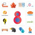 Set of number 8, ok, diamond, eagle head, , sprout, sea shell, icons Royalty Free Stock Photo