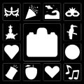 Set of Photo camera, Music, Heart, Cocktail, Drum, Football, Brazil, Toucan, Dancer, editable icon pack Royalty Free Stock Photo
