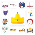 Set of royal, bird nest, train, bowling team, badminton, tachometer, hip hop, volley, viper icons Royalty Free Stock Photo
