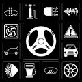 Set of Steering wheel, Alloy Windshield, Gas station, Turbine, Car, Warning, Frost, editable icon pack Royalty Free Stock Photo