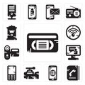 Set of Vhs, Phone book, Smartphone, Video camera, Mobile phone, call, Camcorder, Wifi, Mailbox icons Royalty Free Stock Photo