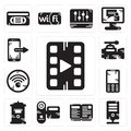 Set of Video player, Server, Open book, Camcorder, Mailbox, Mobile phone, Wifi, camera, Smartphone icons Royalty Free Stock Photo