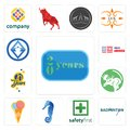 Set of 20 year, badminton, safety first, sea horse, icecream, moose, 70 years, made in america, 3 letter icons Royalty Free Stock Photo
