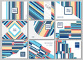 Set of 9 simple geometric graphic covers design. Vector illustra