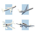 Set of simple icon of aircrafts. Royalty Free Stock Photo