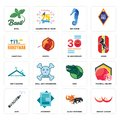 Set of breast cancer, black panthers, vape, dino, dry cleaning, 30 anniversary, handyman, sea horse, basil icons Royalty Free Stock Photo