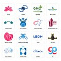 Set of gg, church, bus company, login, beauty parlor, track and field, powerlifting, gmo free, lotos icons Royalty Free Stock Photo