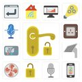 Set of Handle, Mobile phone, Voice control, Unlock, Fan, Panel, Royalty Free Stock Photo