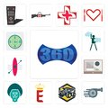 Set of 360 image, turbo, dump truck, e crown, baboon, online form, kayak, ambition, estimate icons