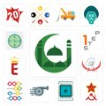 Set of masjid, communism, sem, turbo, abacus, pirate, e crown, step 1, estimate icons