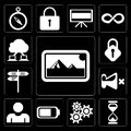 Set of Photos, Hourglass, Settings, Battery, User, Mute, Street, Lock, Cloud computing, editable icon pack