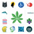 Set of pot leaf, silver star, pillow, cyclist, warrior head, grape leaves, book shop, fortress, icons Royalty Free Stock Photo