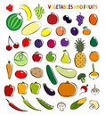 Set of simple images fruit and vegetables Royalty Free Stock Photo