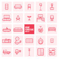 Set of simple thin line design home furniture vector icons set for web