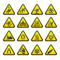 Set Simple of Triangular Warning Hazard Signs Royalty Free Stock Photos