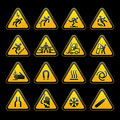 Set simple triangular warning symbols Hazard Signs Royalty Free Stock Photos