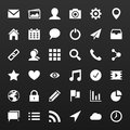 Set simple vector icons for media applications phone, website.